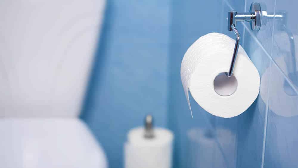 Papel higiênico preso à parede em foco, com vaso sanitário desfocado ao fundo.