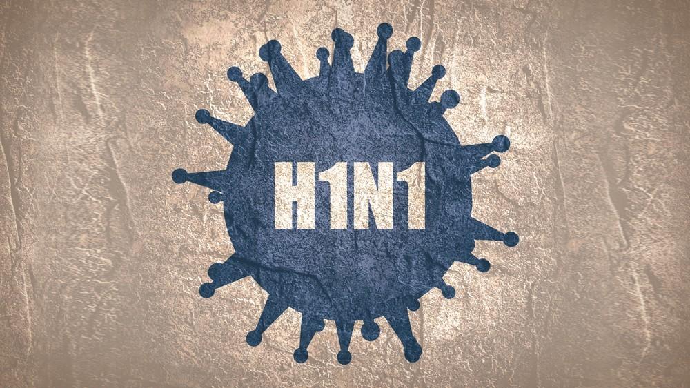 Ilustração de um vírus azul e H1N1 escrito dentro do vírus. sobre uma textura de papel amassado.