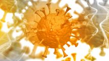 Representação digital de um vírus com outros vírus fora de foco atrás.