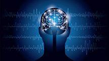 Ilustração de silhueta de uma cabeça de frente com cérebro com pontos iluminados.