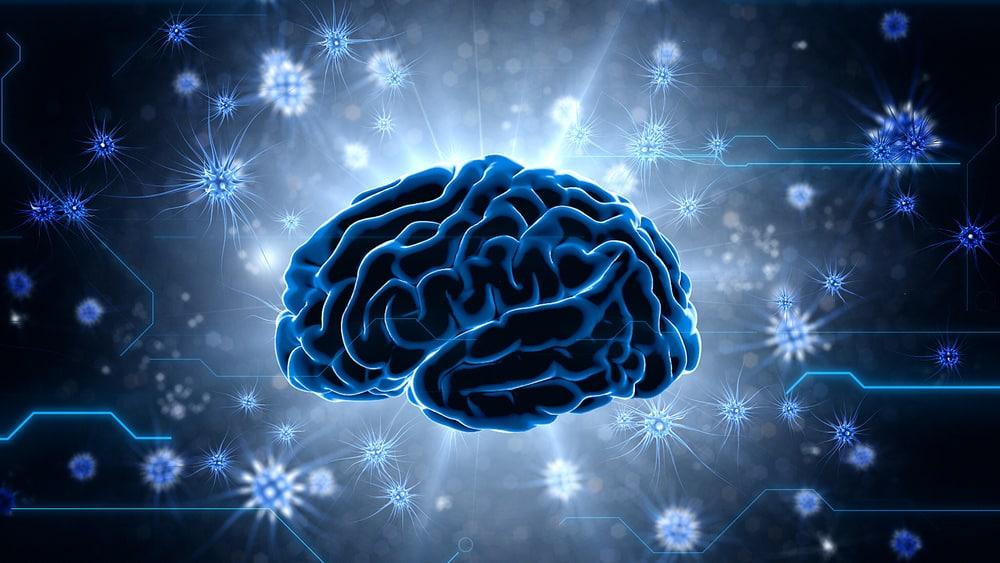 cérebro em 3D com impulsos cerebrais. Guerra pode causar danos cerebrais