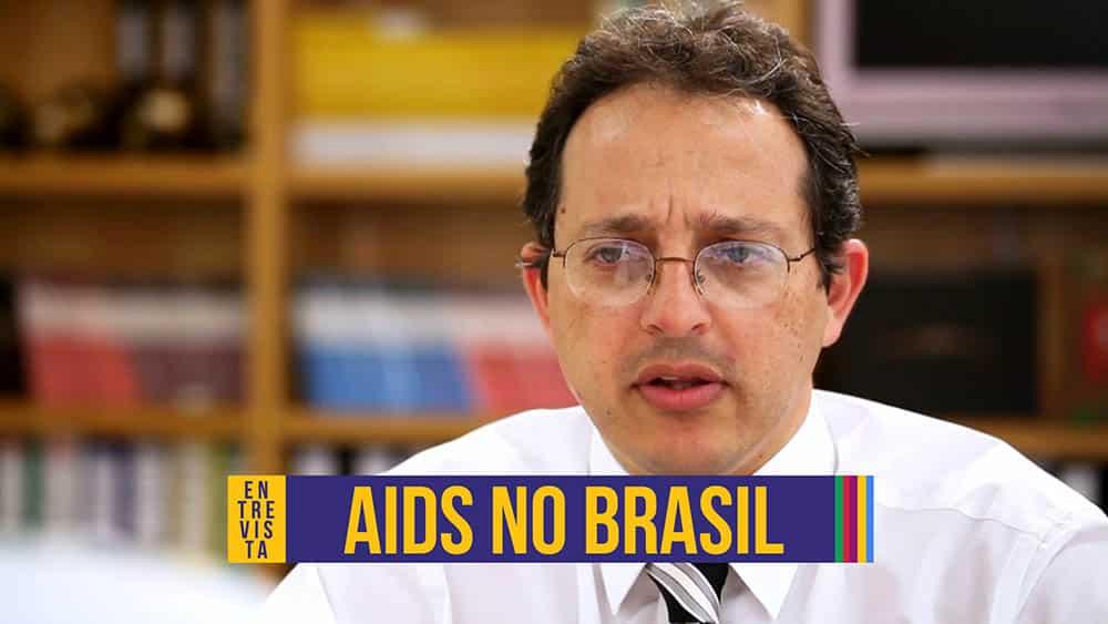 Thumbnail com o infectologista Esper Kallás em entrevista sobre aids no brasil.