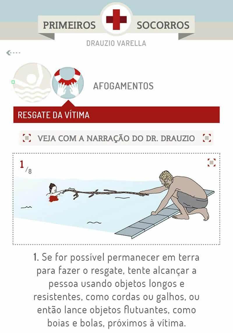 Tela de exemplo do aplicativo Primeiros Socorros Drauzio Varella.