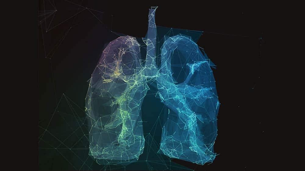Ilustração digital de dois pulmões em forma de linhas e pontos de rede de comunicação.