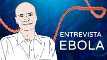 Thumbnail com ilustração do dr. Drauzio e ao fundo uma representação digital do vírus do ebola.