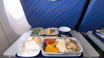 Bandeja com alimentos no assento do avião