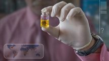 close na mão de pesquisador, que segura vidro com aedes; zika chegou nas américas