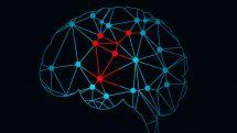 Ilustração de cérebro formado por pontos interligados e algumas conexões destacadas em vermelho.