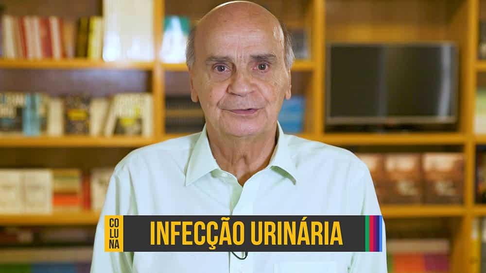 """Thumbnail com dr. Drauzio olhando para a câmera e o texto se referindo ao tema """"Infecção Urinária""""."""