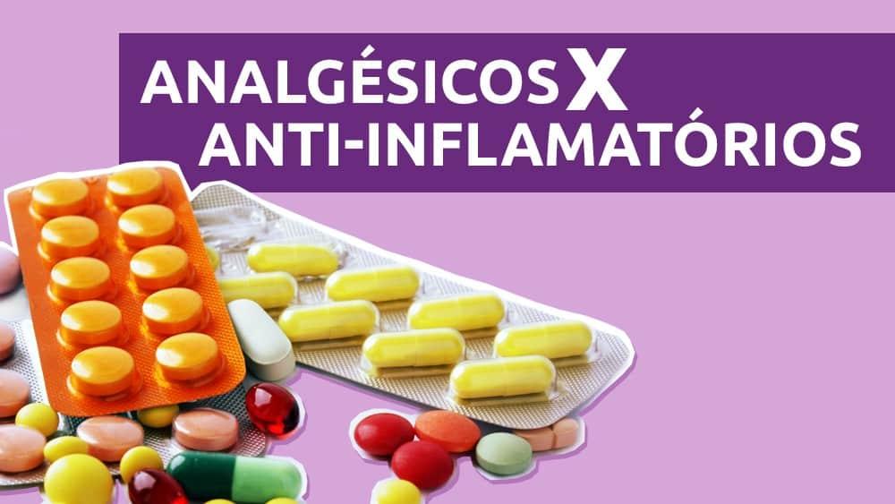 Thumbnail de infográfico com as principais diferenças entre analgésicos e anti-inflamatórios, com cartelas de medicamentos sobre um fundo roxo.