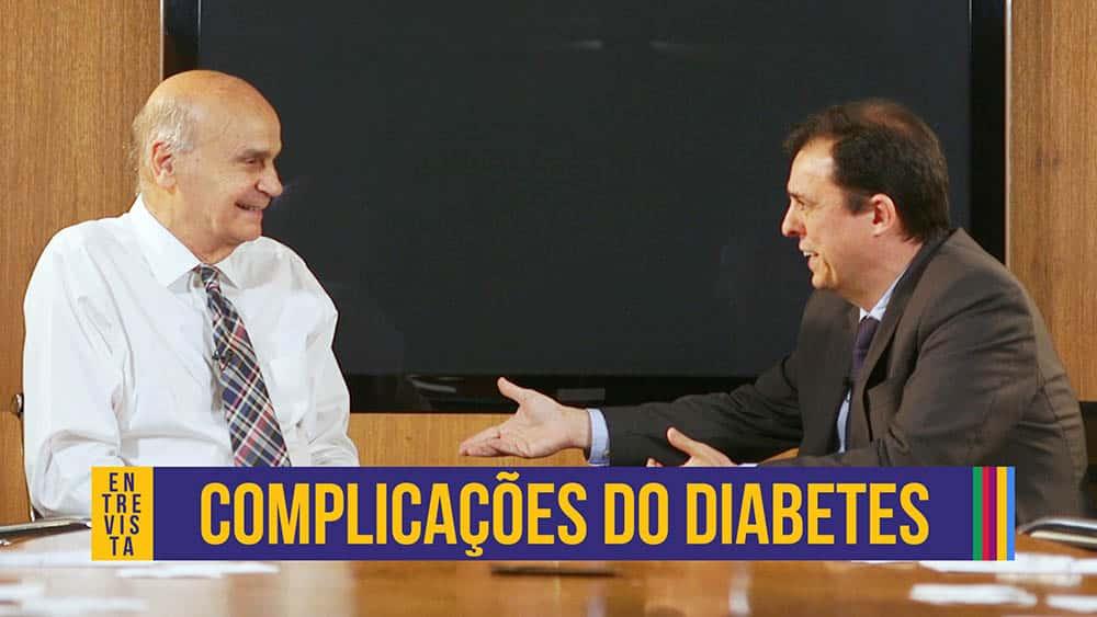 """Thumbnail com dr. Drazuio à esquerda e o endocrinologista oão Salles à direita e o texto """"complicações do diabetes""""."""