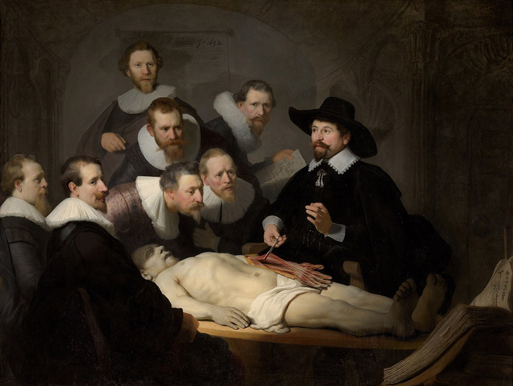 """Reprodução do quadro """"A Lição de Anatomia do Dr. Nicolaes Tulp"""", de Rembrandt."""