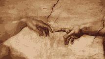 """obra de michelangelo, """"A crianção de Adão"""", em que Deus cria Adão"""
