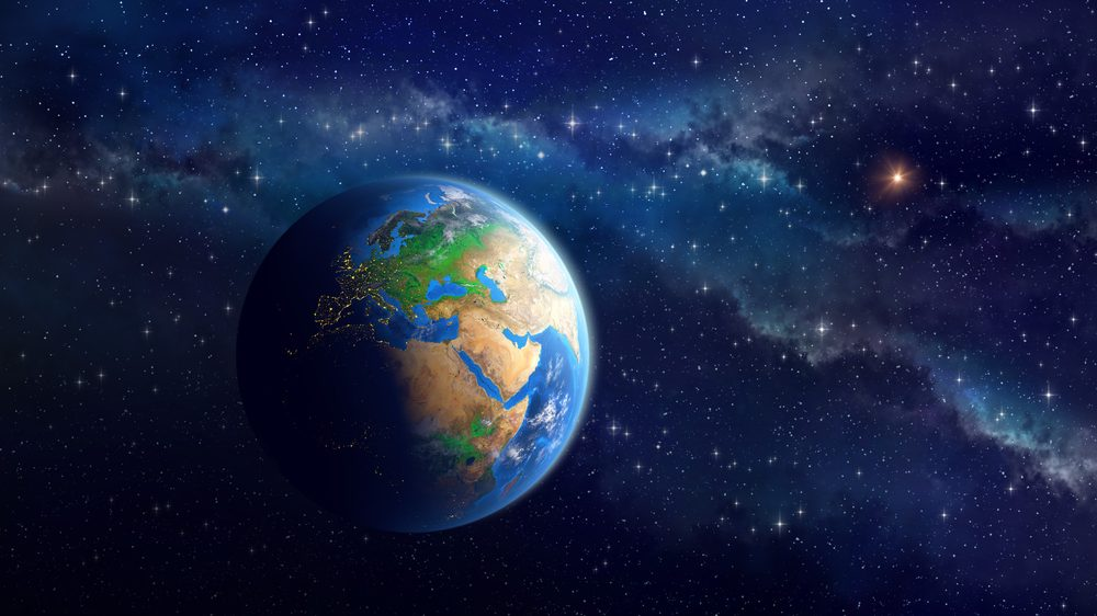 planeta Terra com universo ao fundo