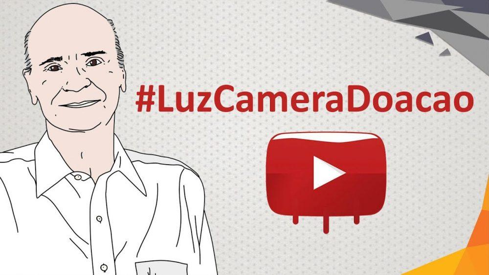 Ilustração do dr. Drauzio com a hashtag LuzCameraDoacao.