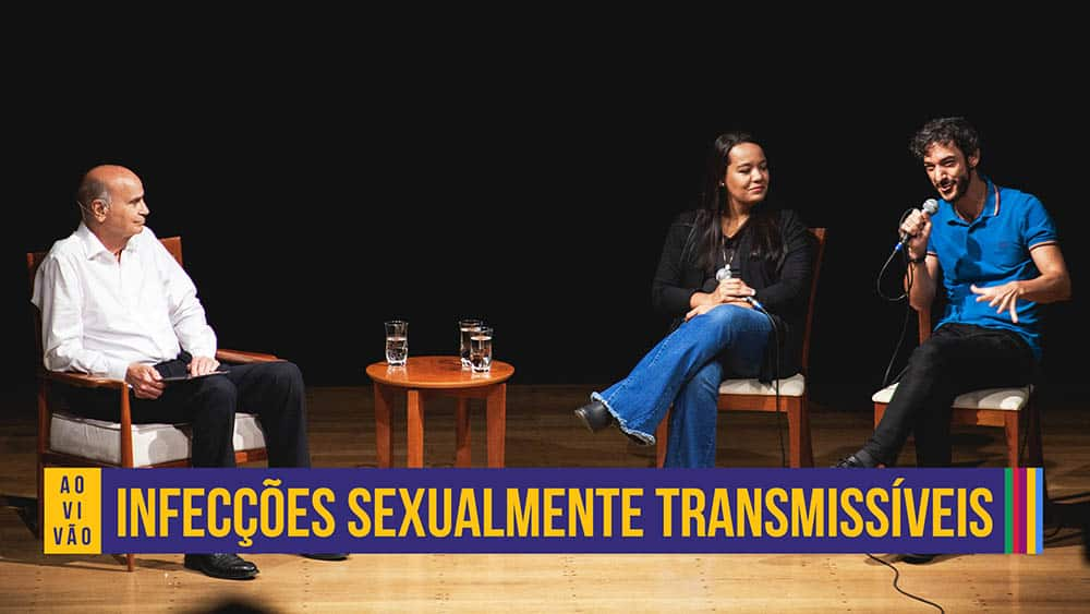 Dr. Drauzio e os convidados Ramyle Lemos e Rico Vasconeclos conversando sobre IST.
