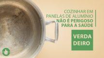 """Panela de alumínio vista de cima e texto """"cozinhar em panelas de alumínio não é perigoso para a saúde""""."""