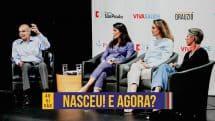 Dr. Drauzio Varella com convidadas de evento sobre gravidez.