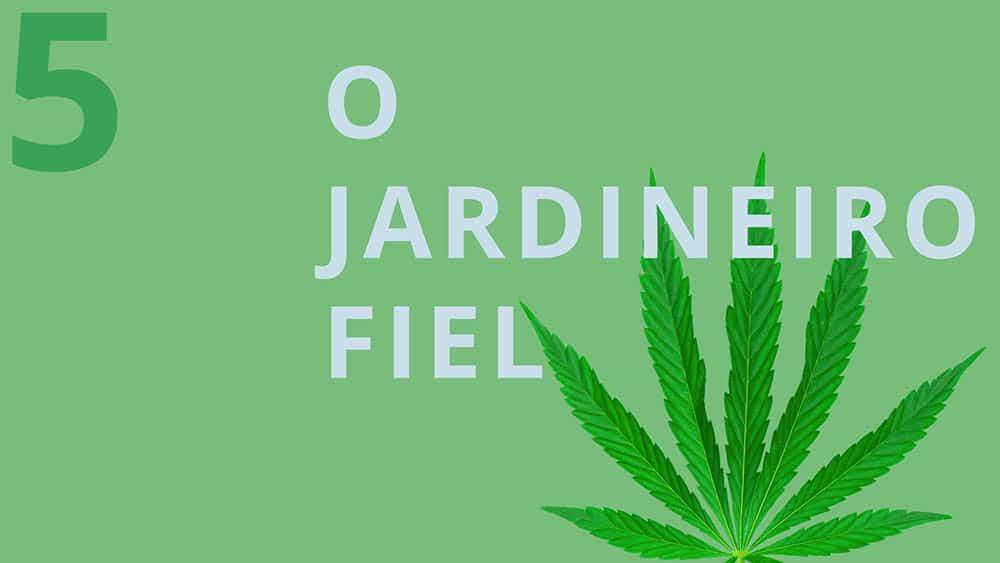"""Fundo verde com uma folha de maconha e texto """"o jardineiro fiel""""."""