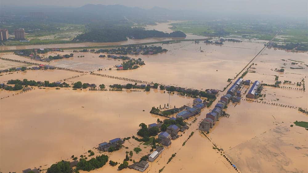 Vista aérea de inundação na cidade chinesa de Changsha.