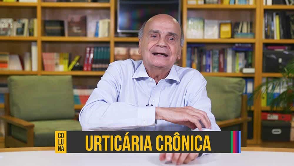 """Dr. Drauzio e, abaixo, o texto """"urticária crônica""""."""