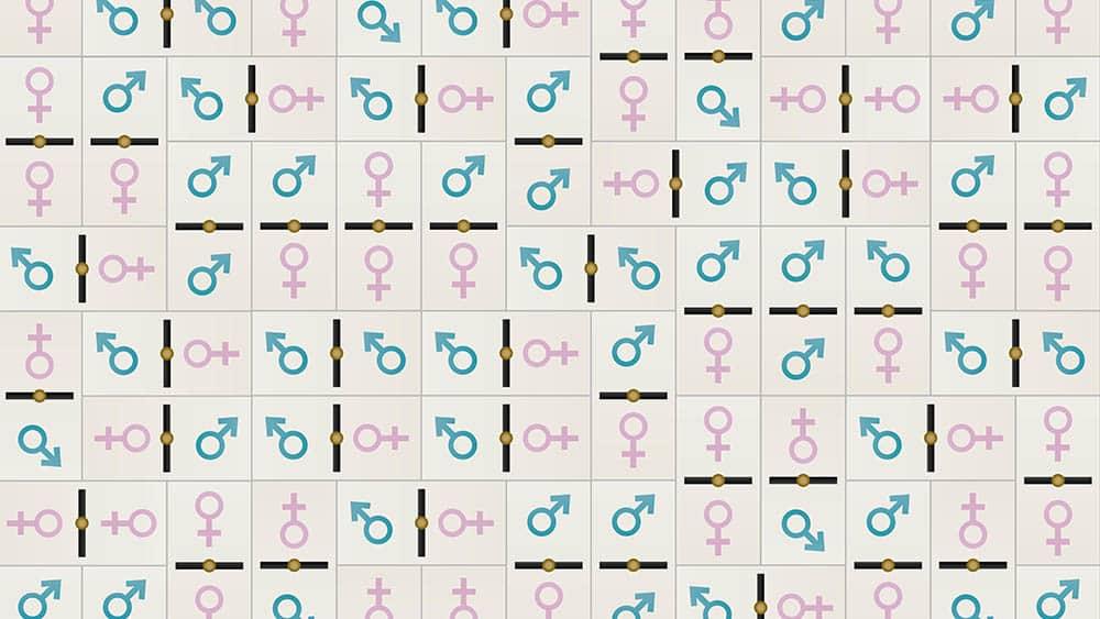 Textura com peças de dominó formados por símbolos de masculino e feminino.