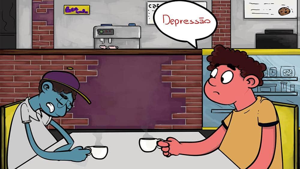 """Dois personagens sentados em uma mesa de café e um balão de fala em um deles escrito """"depressão""""."""