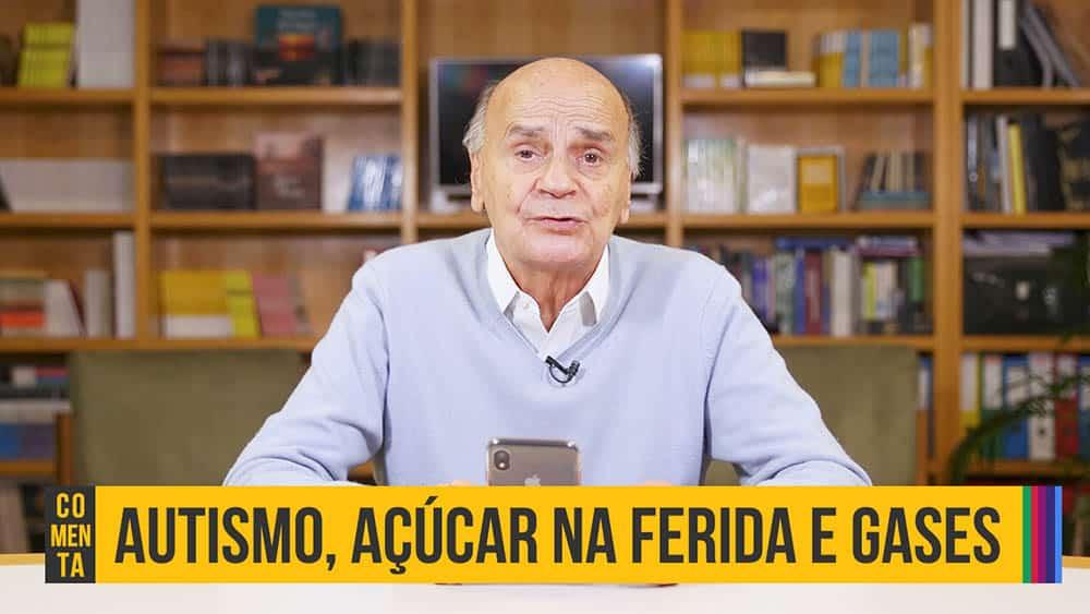 """Dr. Drauzio Varella e abaixo o texto """"autismo, açúcar na ferida e gases""""."""