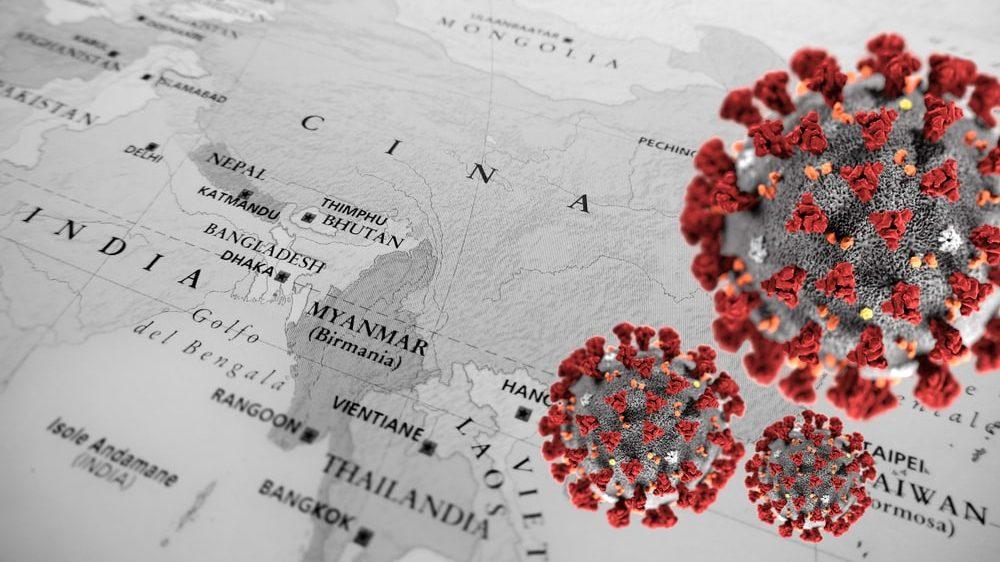 desenho do Sars-CoV, vírus da Sars, síndrome respiratória aguda grave, sobre mapa da Ásia
